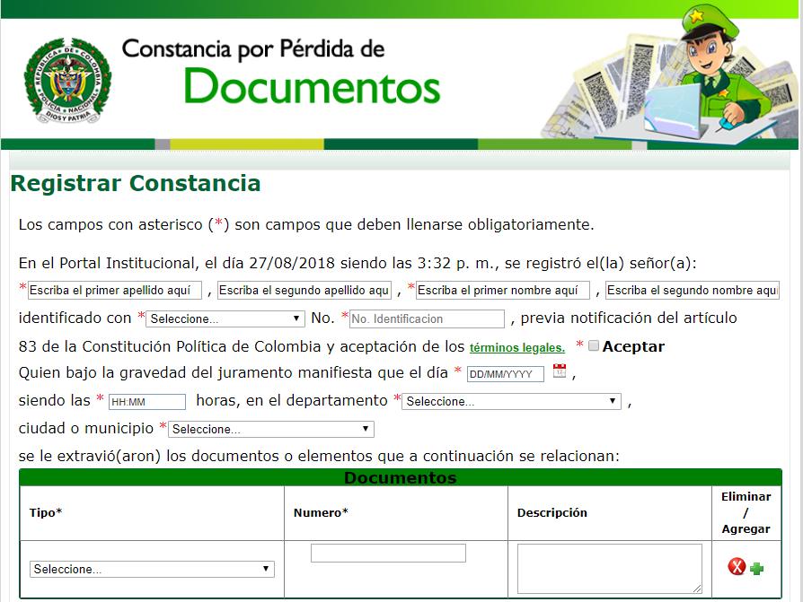 formulario de denuncia por pérdida de documentos en el sidex