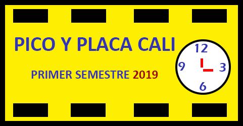 imagen de una placa con un reloj y título Pico y placa en Cali 2019