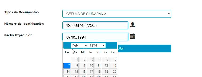 Formulario consulta sispro