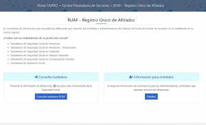 RUAF sispro sitio oficial para consultar afiliación a entidades del sistema de protección social